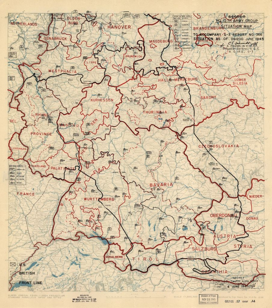 [June 6, 1945], HQ Twelfth Army Group situation map.