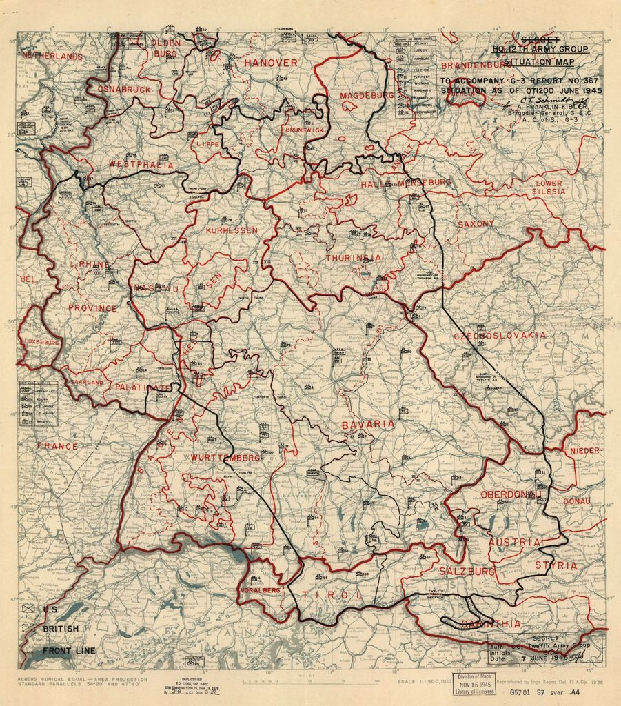 [June 7, 1945], HQ Twelfth Army Group situation map.