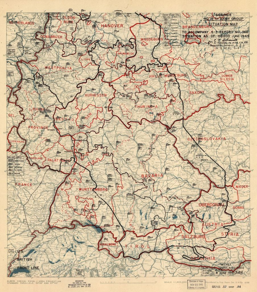 [June 8, 1945], HQ Twelfth Army Group situation map.