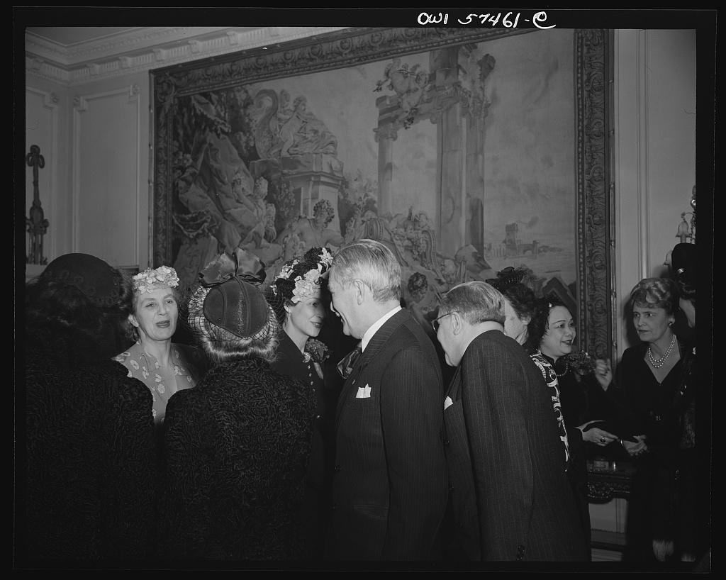 Lady Sanaom, Madame Bonnet, Mr. Vladimir Hurban (?), Ambassador from Czechoslovakia at a reception celebrating International Women's Day at the home of Joseph E. Davies, former United States Ambassador to the Union of Soviet Socialist Republics