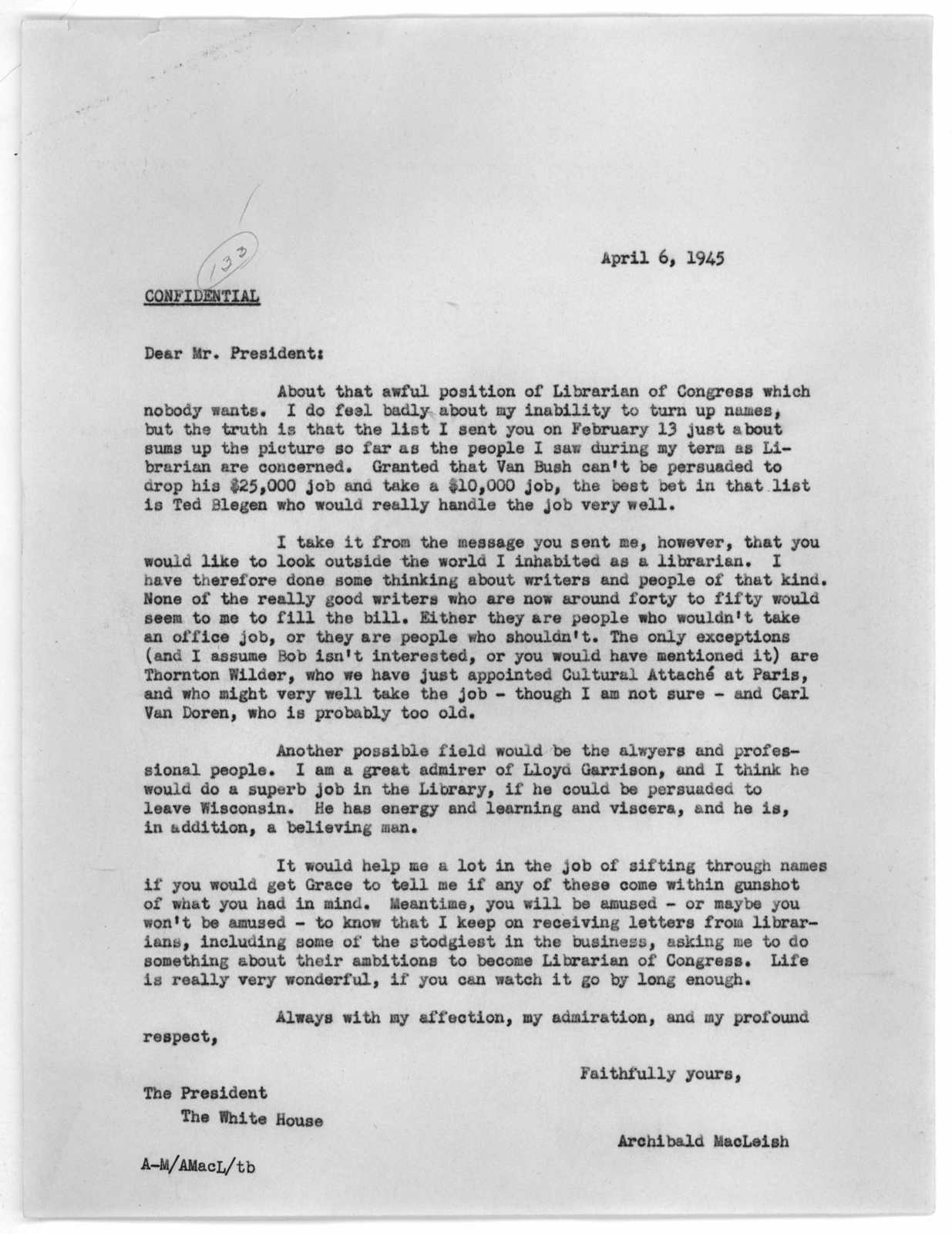 Letter from Archibald MacLeish to Franklin D. Roosevelt, April 6, 1945