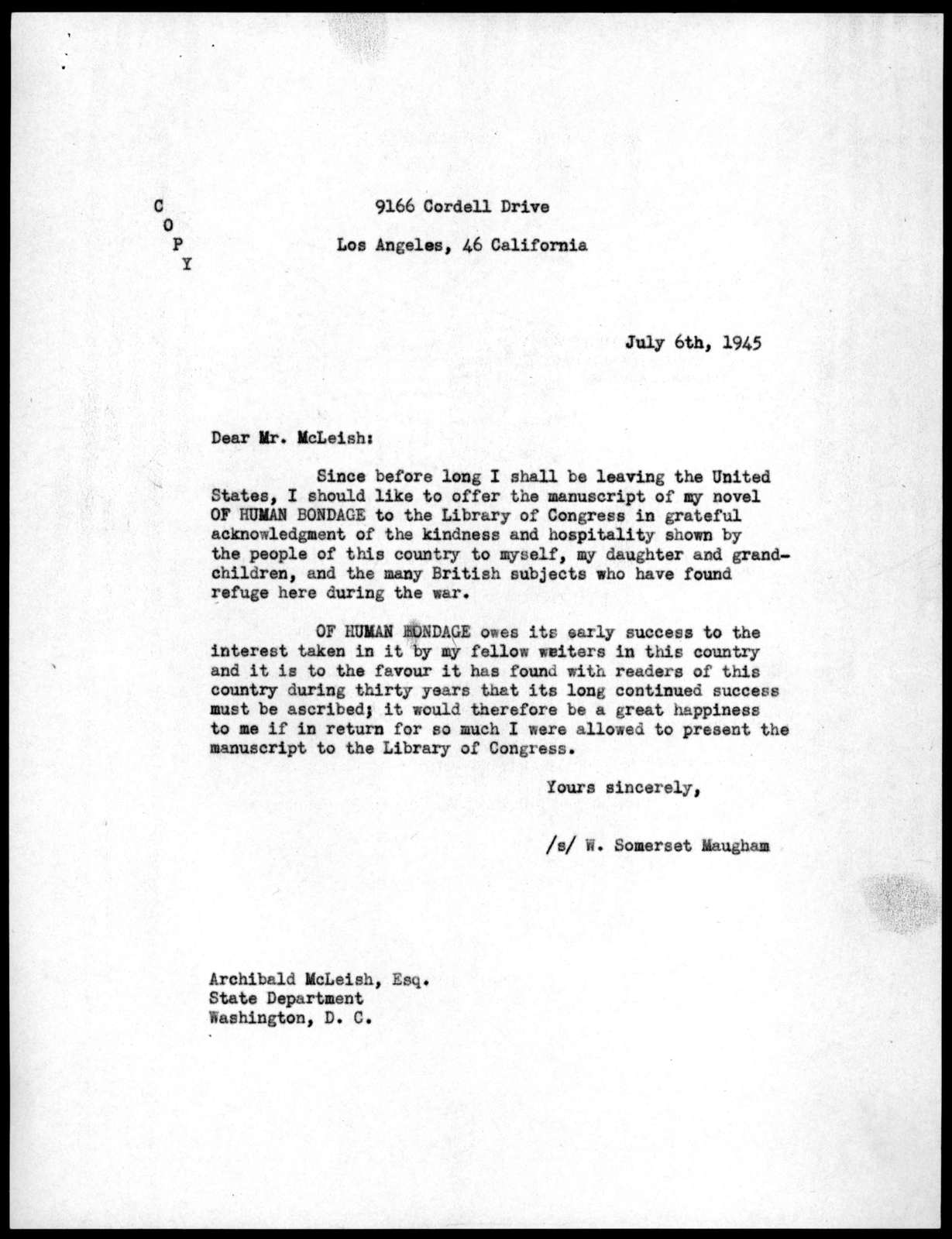 Letter from W. Somerset Maugham to Archibald MacLeish, July 6, 1945