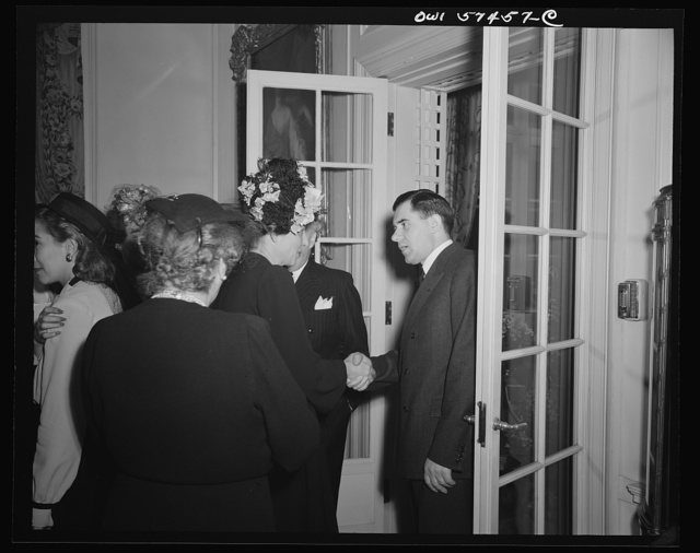 Madame Bonnet, wife of French Ambassador and Andrei Gromyko, Ambassador from the Union of Soviet Socialist Republicst a reception celebrating International Women's Day at the home of Joseph E. Davies, former United States Ambassador to the Union of Soviet Socialist Republics