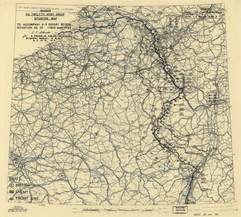[March 11, 1945], HQ Twelfth Army Group situation map.