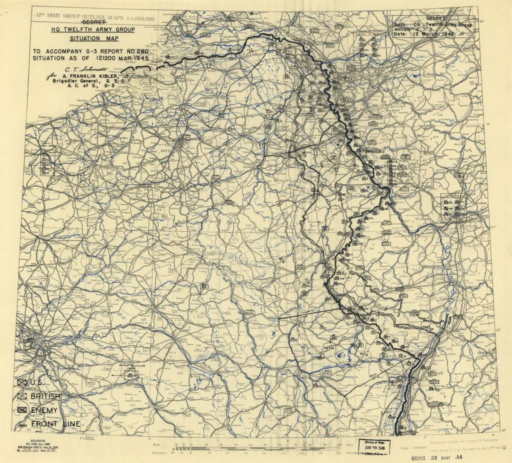 [March 12, 1945], HQ Twelfth Army Group situation map.