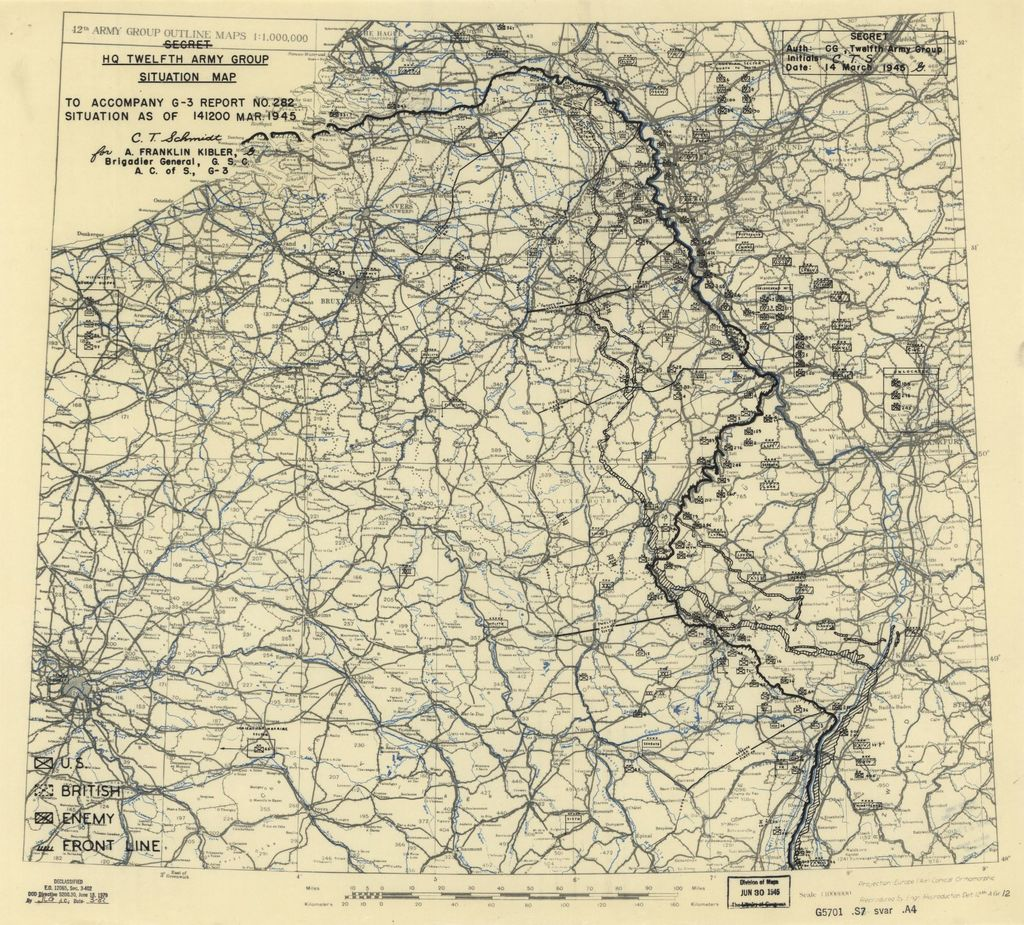 [March 14, 1945], HQ Twelfth Army Group situation map.