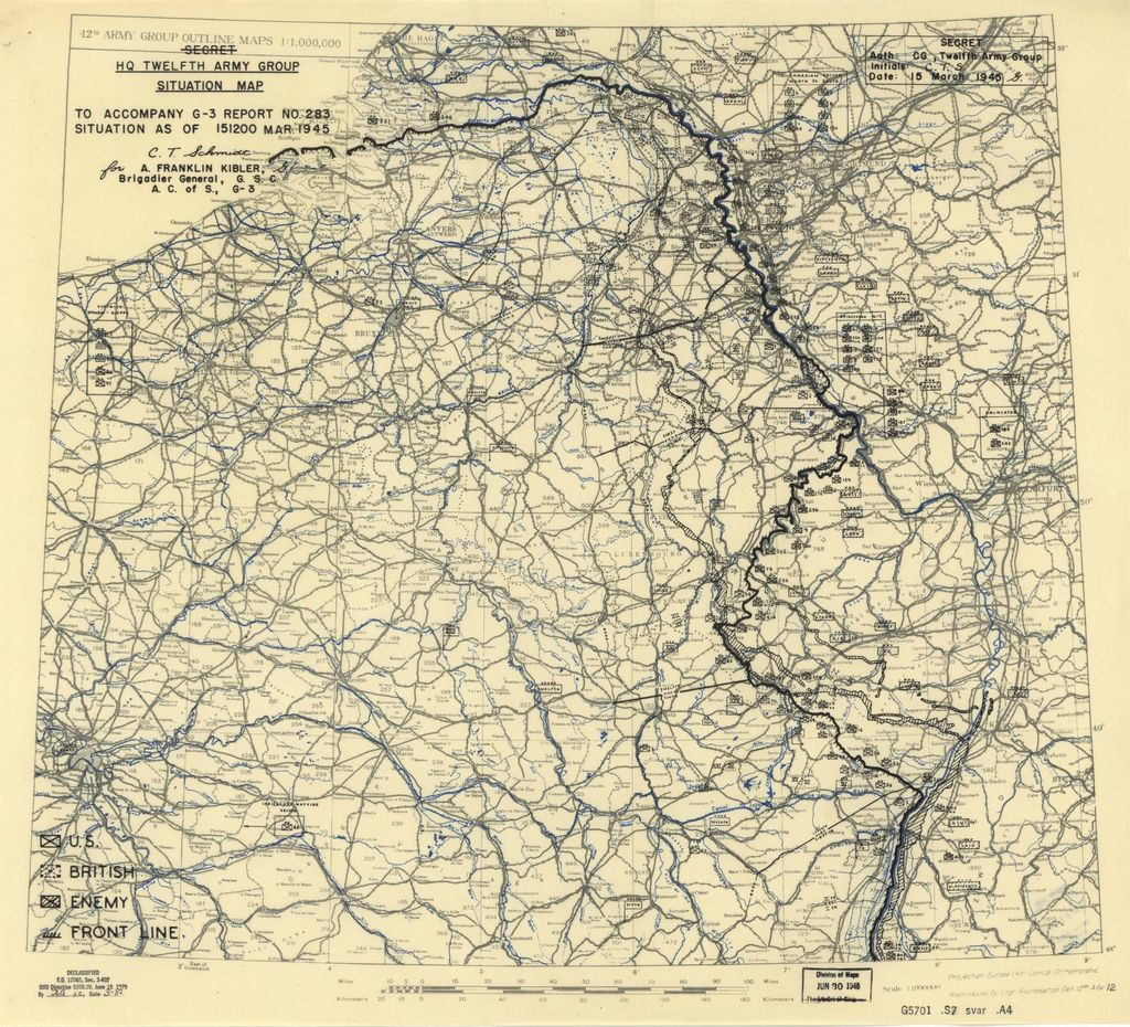 [March 15, 1945], HQ Twelfth Army Group situation map.