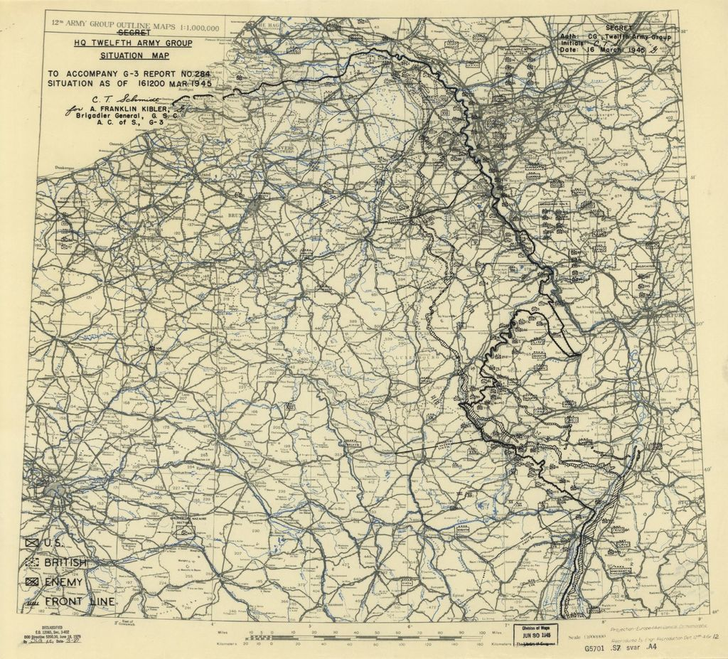 [March 16, 1945], HQ Twelfth Army Group situation map.