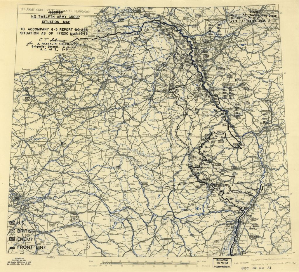 [March 17, 1945], HQ Twelfth Army Group situation map.