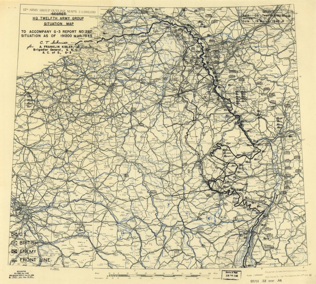 [March 19, 1945], HQ Twelfth Army Group situation map.