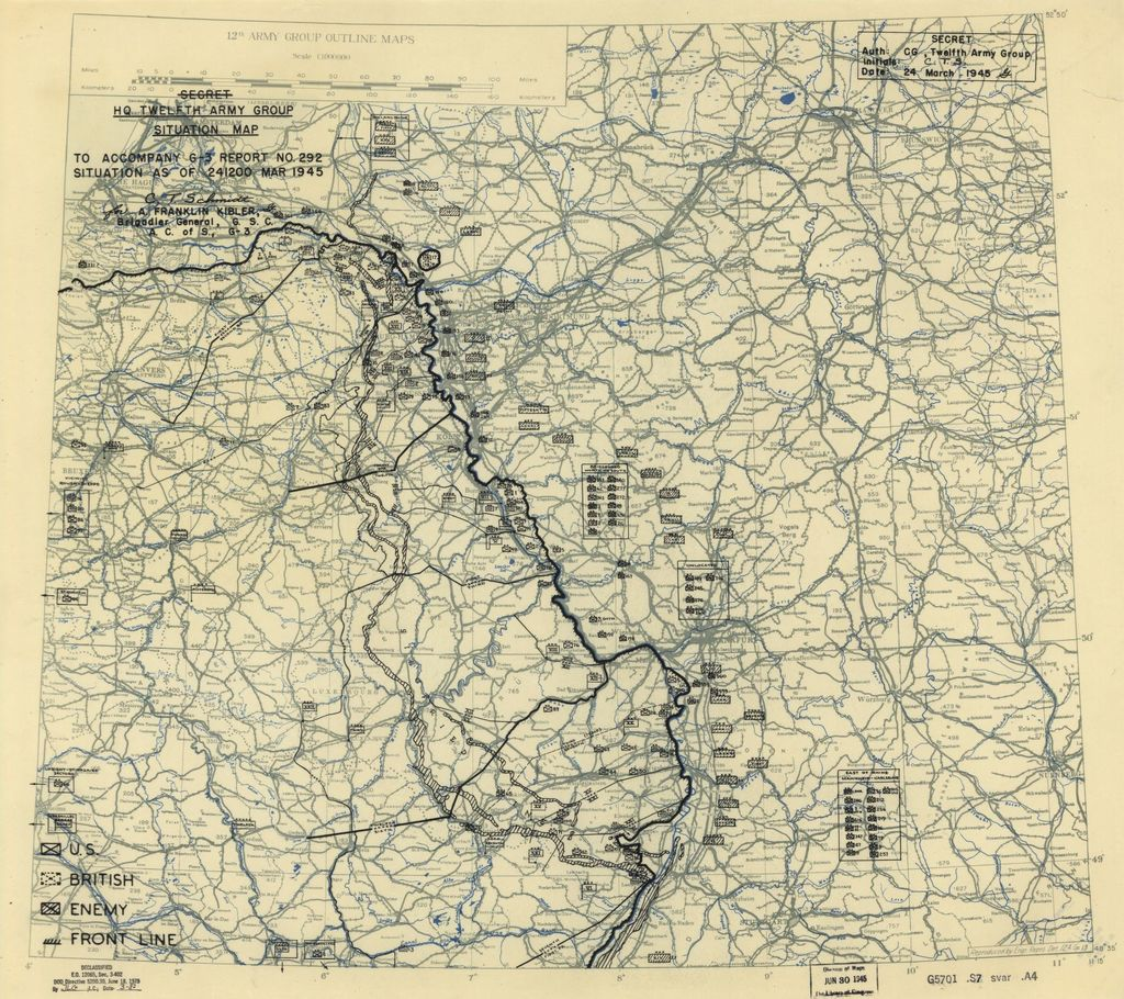 [March 24, 1945], HQ Twelfth Army Group situation map.