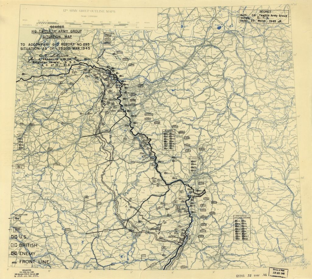[March 25, 1945], HQ Twelfth Army Group situation map.