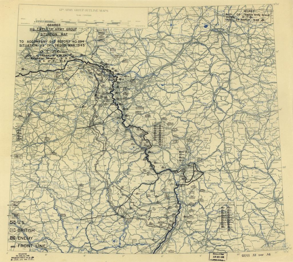 [March 26, 1945], HQ Twelfth Army Group situation map.