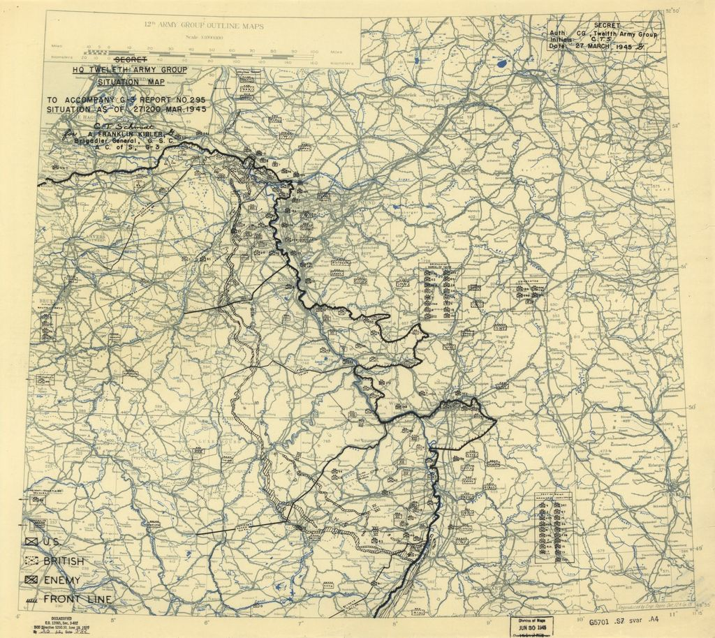[March 27, 1945], HQ Twelfth Army Group situation map.