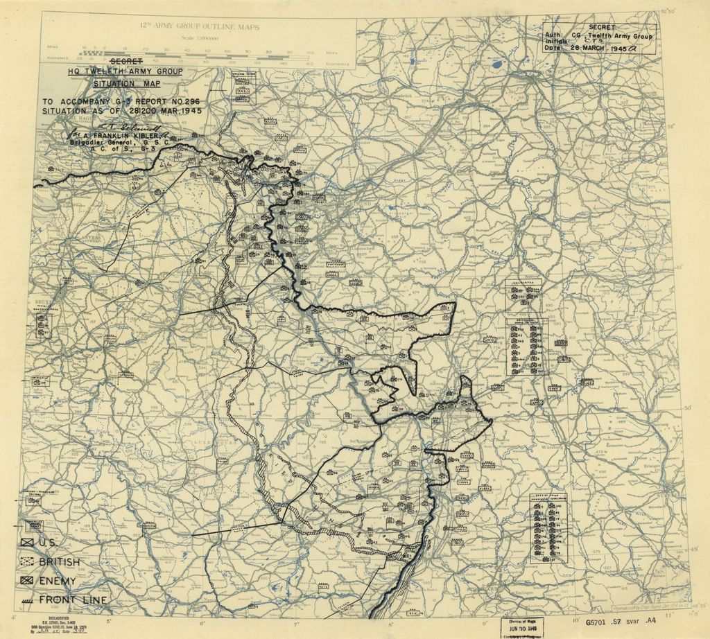 [March 28, 1945], HQ Twelfth Army Group situation map.