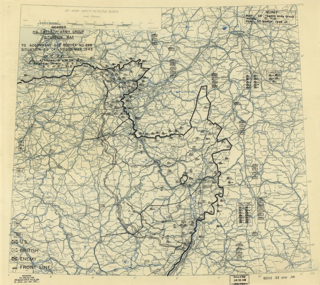 [March 30, 1945], HQ Twelfth Army Group situation map.