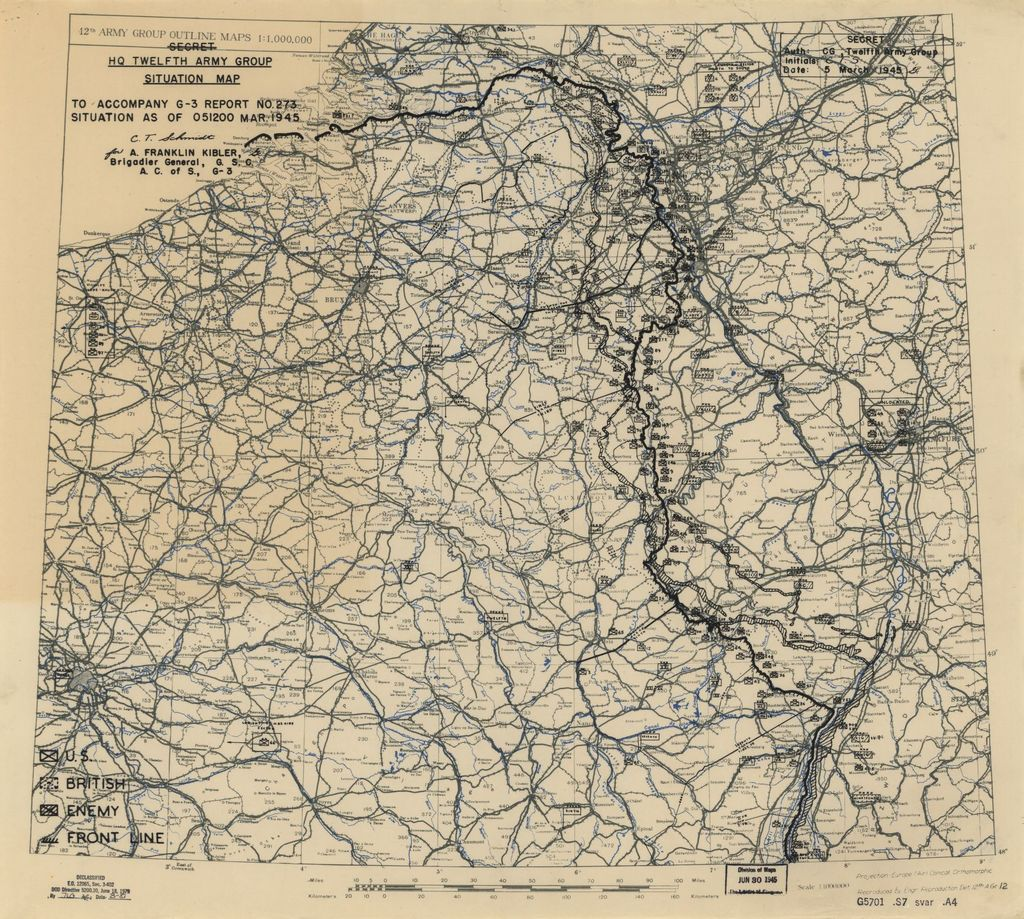 [March 5, 1945], HQ Twelfth Army Group situation map.