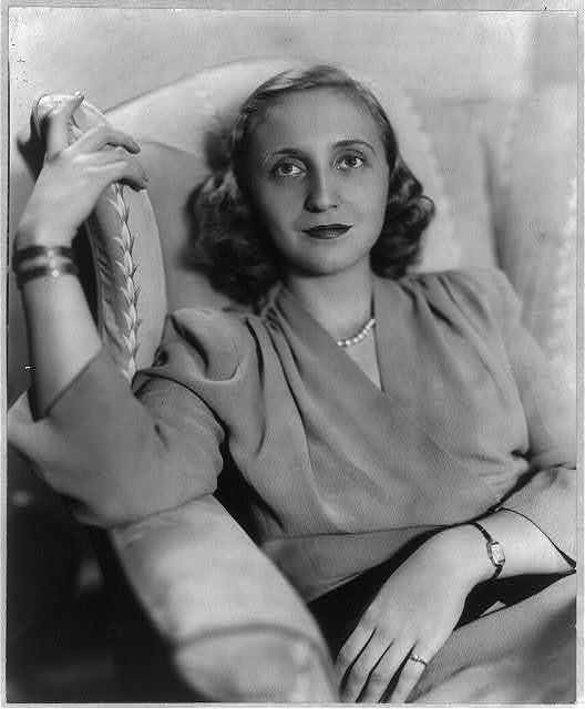 [Margaret Truman, 1924-; half length portrait, seated with one hand on back of chair, facing slightly left]
