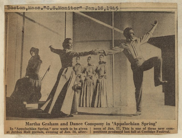 "Martha Graham and Dance Company in ""Appalachian Spring"""