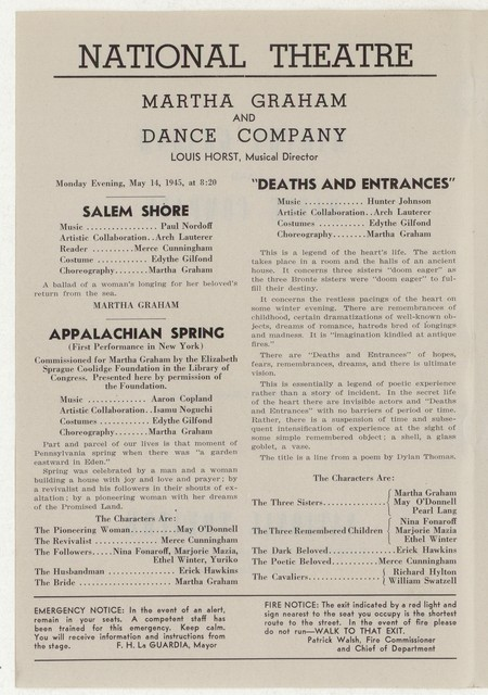 [ Martha Graham and Dance Company, National Theatre, May 14-19, 1945]