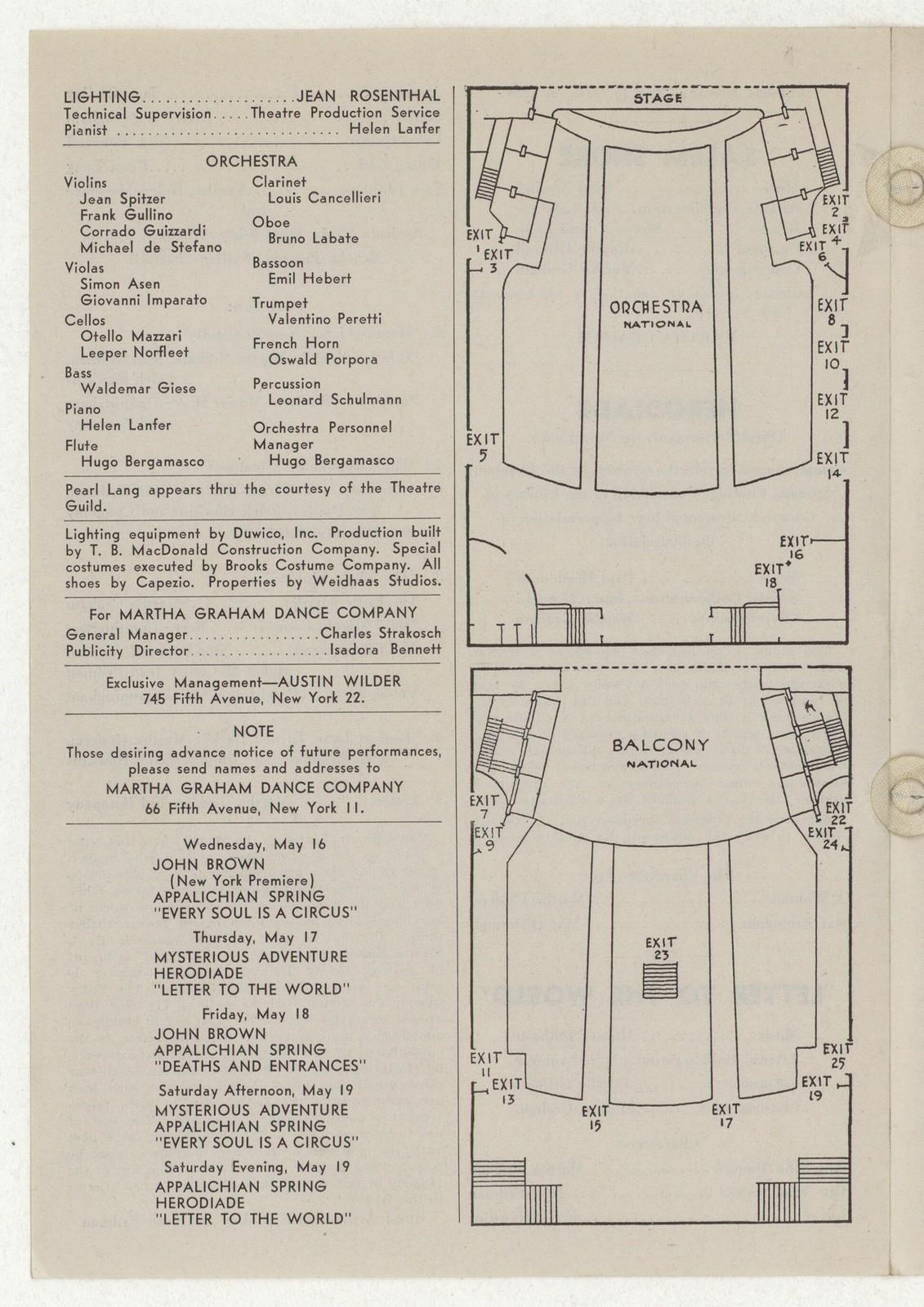 [ Martha Graham and Dance Company, National Theatre, May 14-19, 1945]