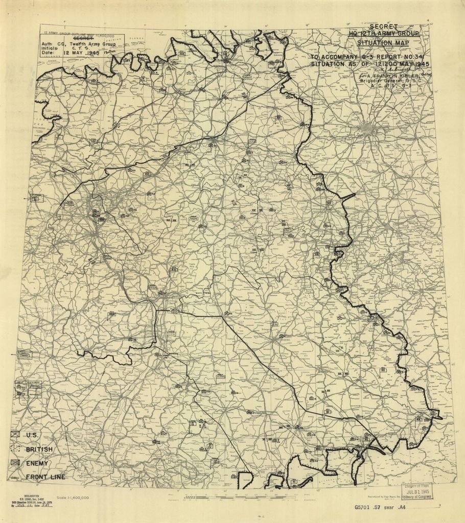 [May 12, 1945], HQ Twelfth Army Group situation map.