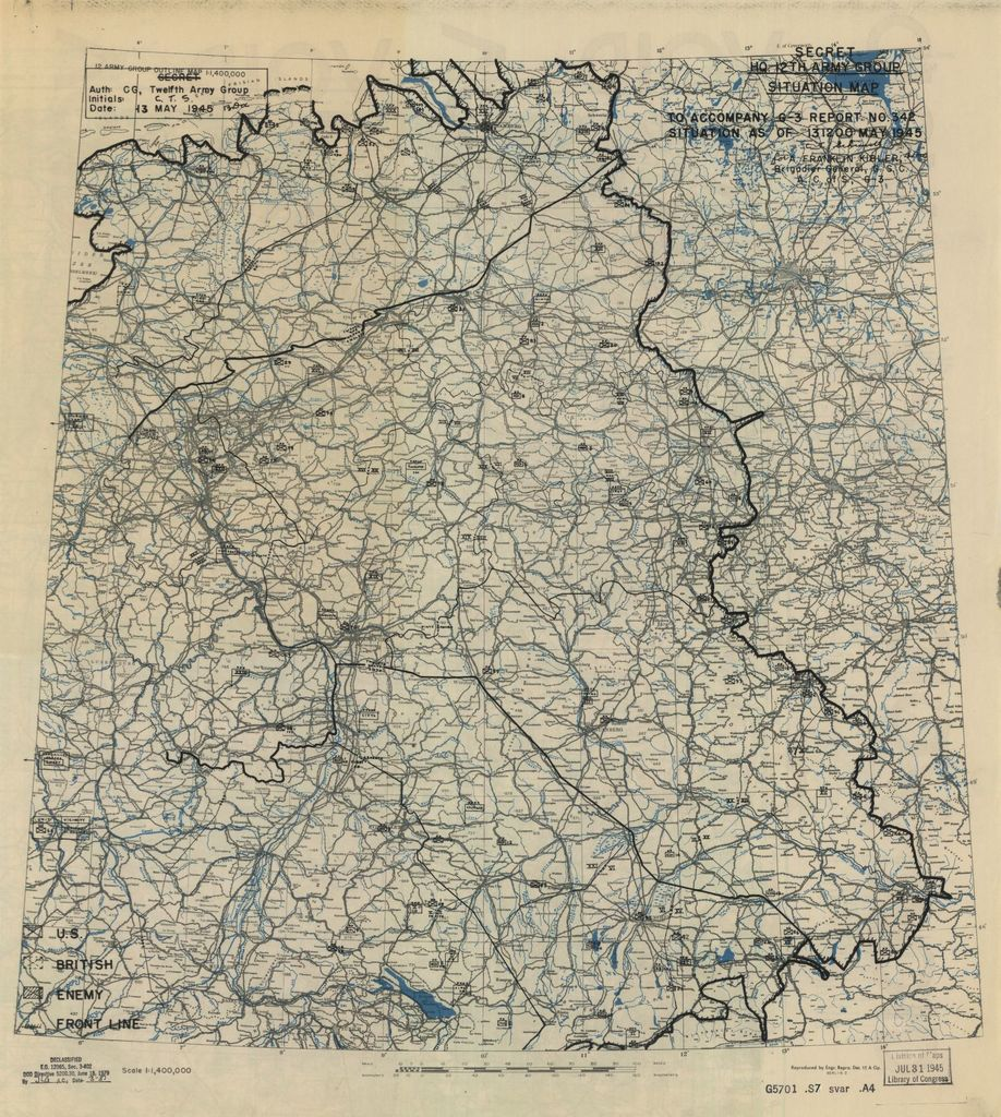 [May 13, 1945], HQ Twelfth Army Group situation map.