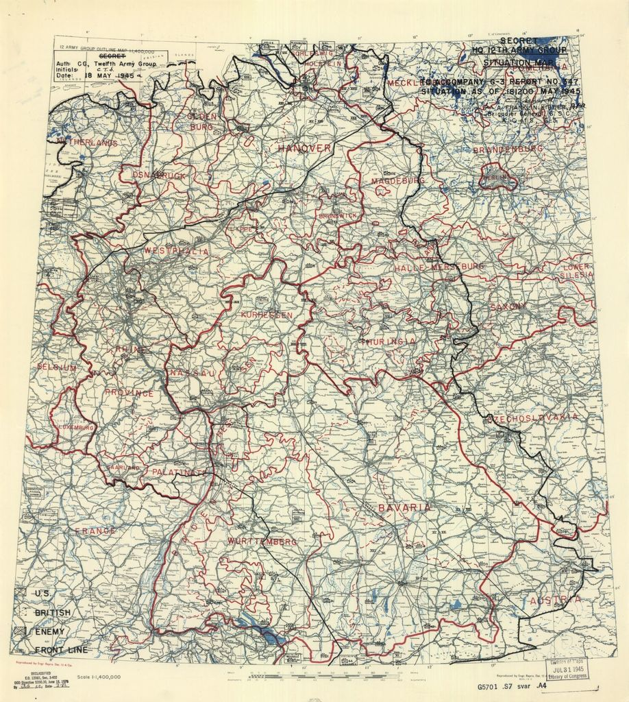 [May 18, 1945], HQ Twelfth Army Group situation map.