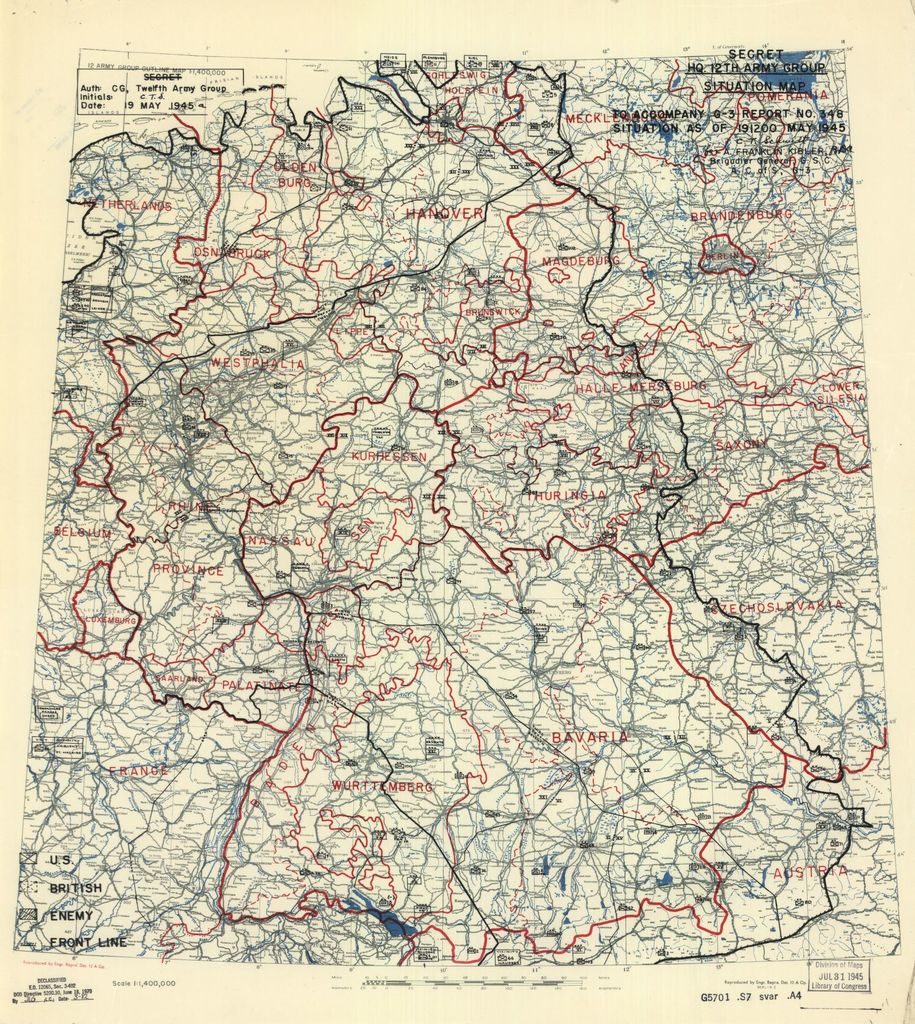[May 19, 1945], HQ Twelfth Army Group situation map.