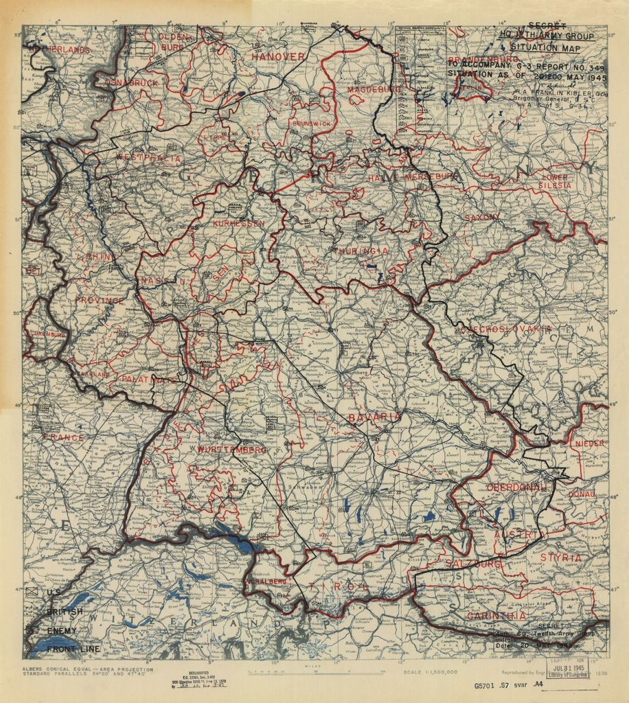 [May 20, 1945], HQ Twelfth Army Group situation map.