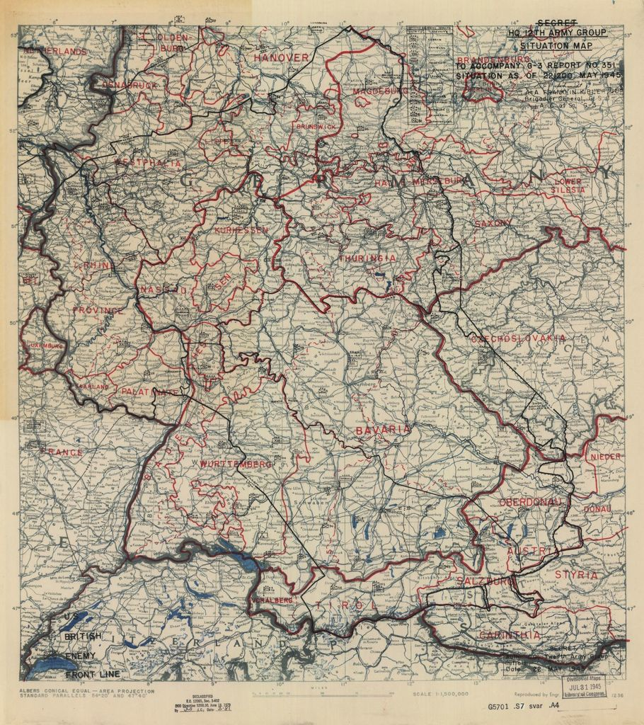 [May 22, 1945], HQ Twelfth Army Group situation map.