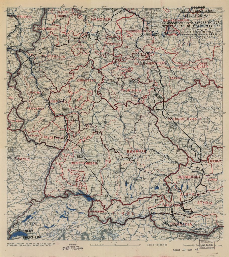 [May 23, 1945], HQ Twelfth Army Group situation map.