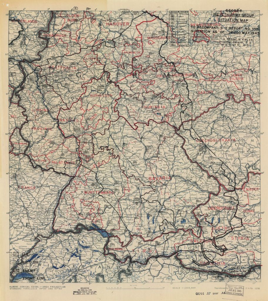 [May 24, 1945], HQ Twelfth Army Group situation map.