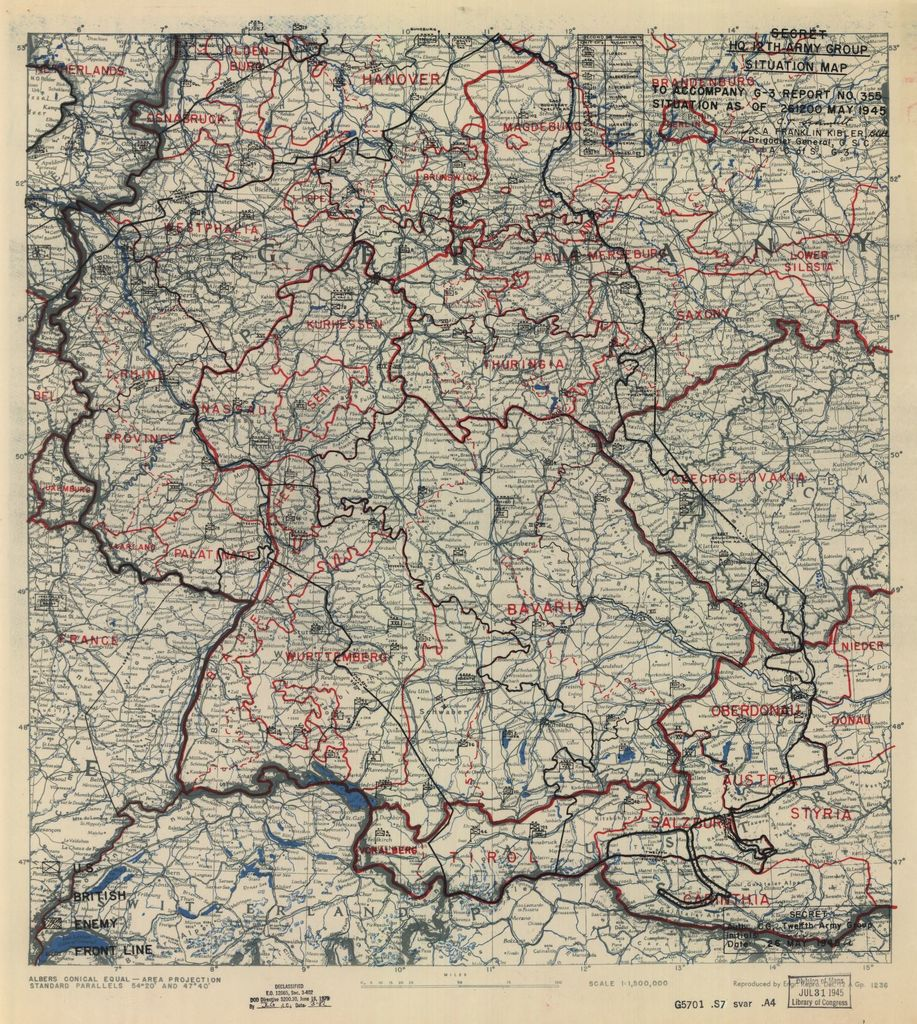 [May 26, 1945], HQ Twelfth Army Group situation map.