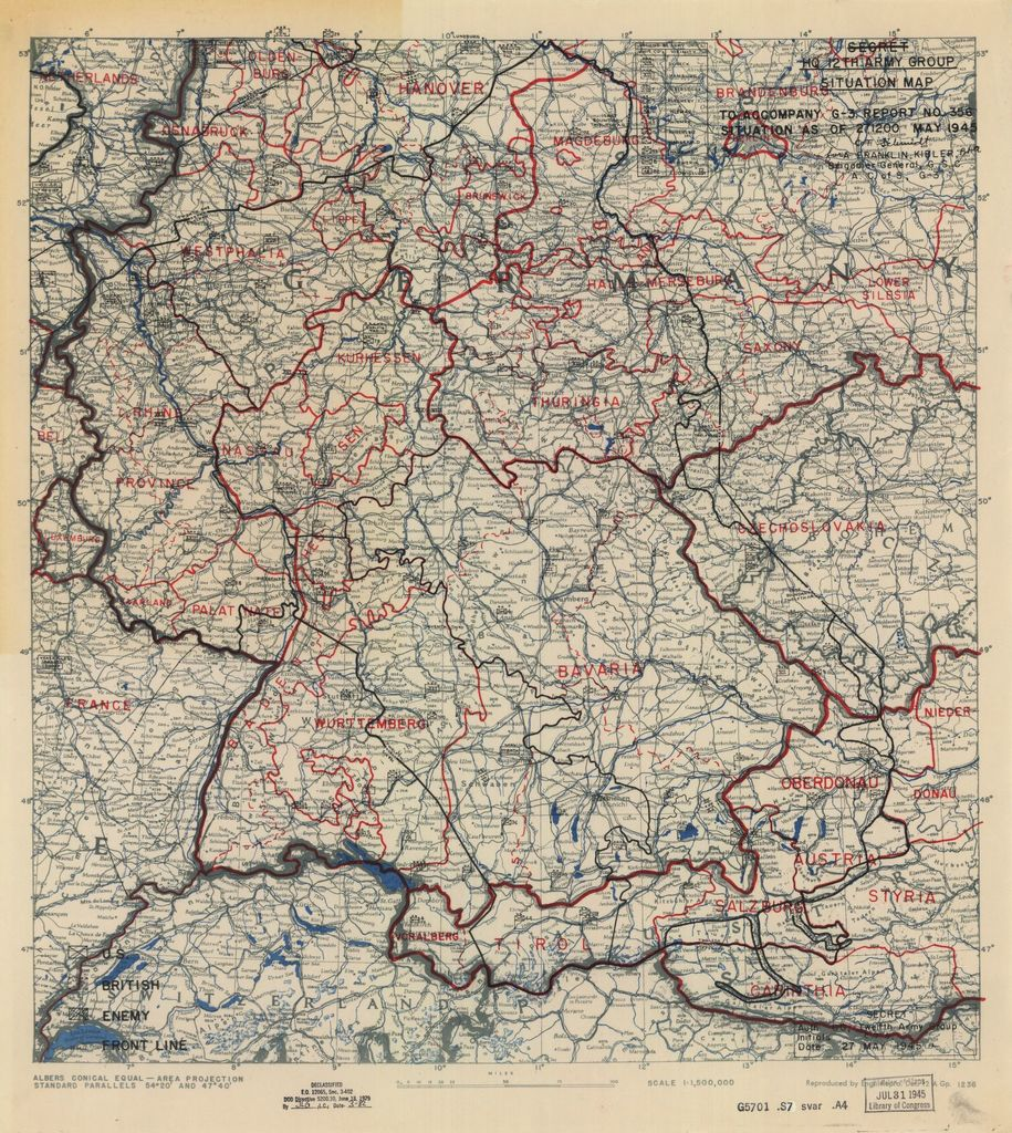 [May 27, 1945], HQ Twelfth Army Group situation map.