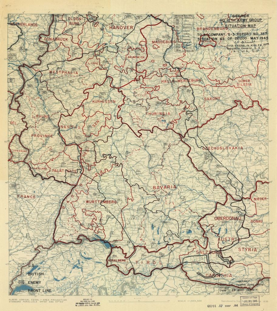 [May 28, 1945], HQ Twelfth Army Group situation map.