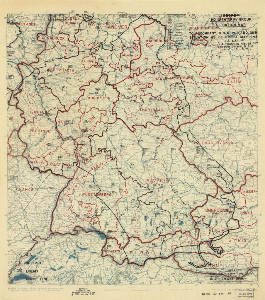 [May 29, 1945], HQ Twelfth Army Group situation map.