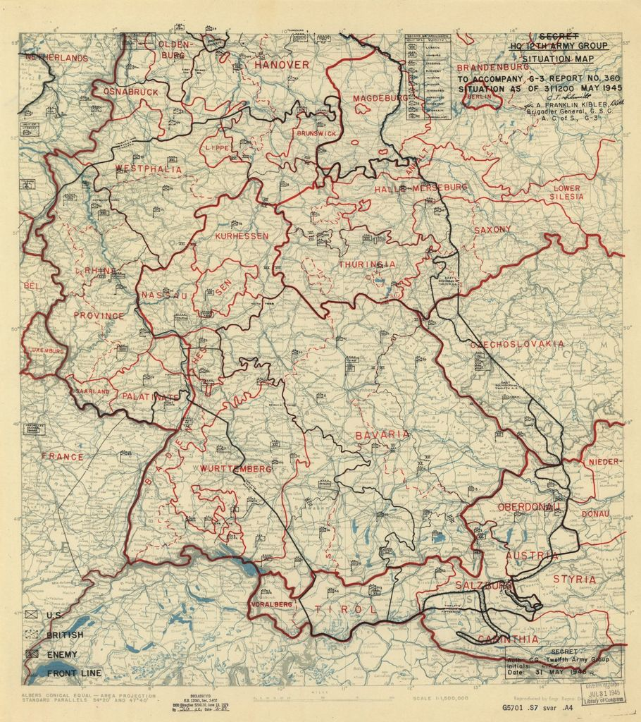 [May 31, 1945], HQ Twelfth Army Group situation map.