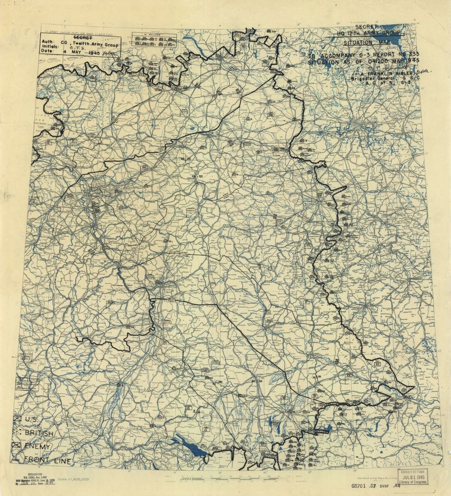 [May 4, 1945], HQ Twelfth Army Group situation map.
