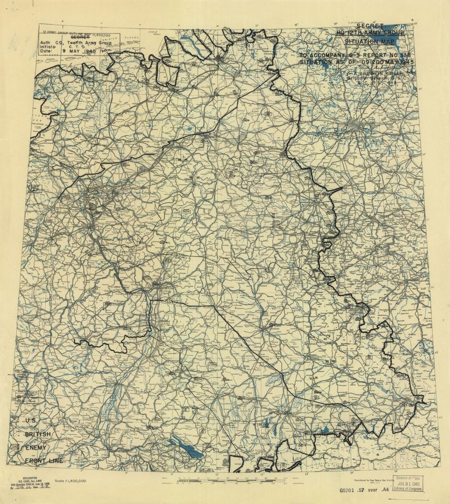 [May 9, 1945], HQ Twelfth Army Group situation map.