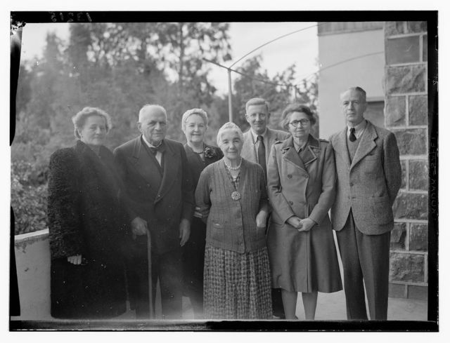 Miss Vartan's birthday group at Tiberias, Feb. 6, 1945