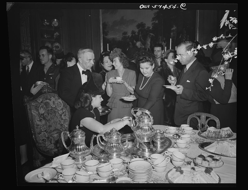 Mrs. A. Slionsaremko, wife of First Secretary of Russian Embassy, Madame Wei Tao Ming, Mrs. Walter Lippman (?), Madame Andrei A. Gromyko at a reception celebrating International Women's Day at the home of Joseph E. Davies, former United States Ambassador to the Union of Soviet Socialist Republics