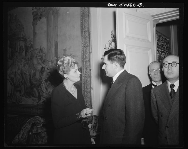 Mrs. Joseph E. Davies and Mr. Andrei Gromyko, Ambassador from the Union of Soviet Socialist Republics at a reception celebrating International Women's Day at the home of Joseph E. Davies, former United States Ambassador to the Union of Soviet Socialist Republics