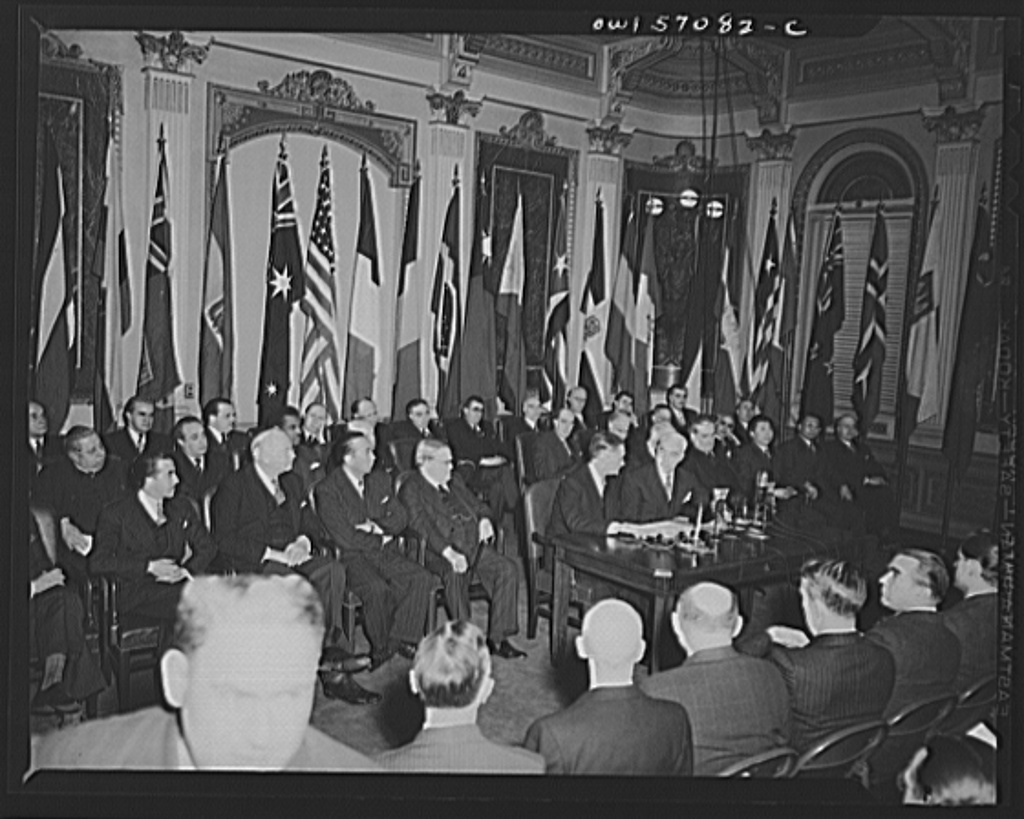 Secretary of State Stettinius and French Ambassador Henri Bonnet on the occasion of the signing the United Nations declaration for France at the State Department