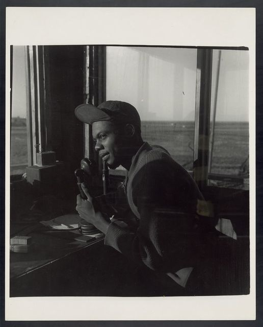 [Sgt. William P. Bostic, 301st F.S. in control tower, March 1945]