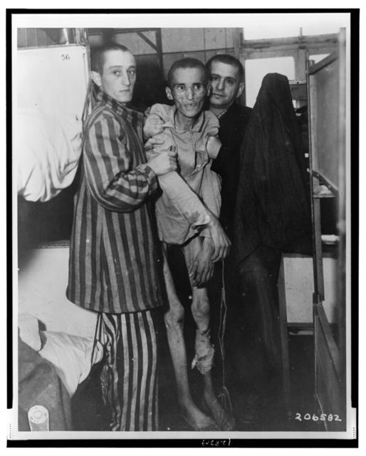 This 23-year-old Czech victim of dysentery in Nazi camp at Flossenburg, Germany, was found by 97th Division of U.S. Army / Signal Corps U.S. Army.