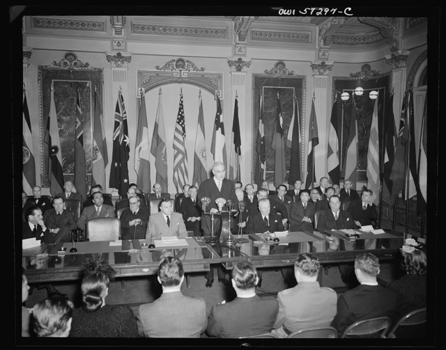 Washington, D.C. Joseph C. Grew, Undersecretary of State for the United States and foreign officials and representatives signing the declaration by United Nations and lend-lease agreements