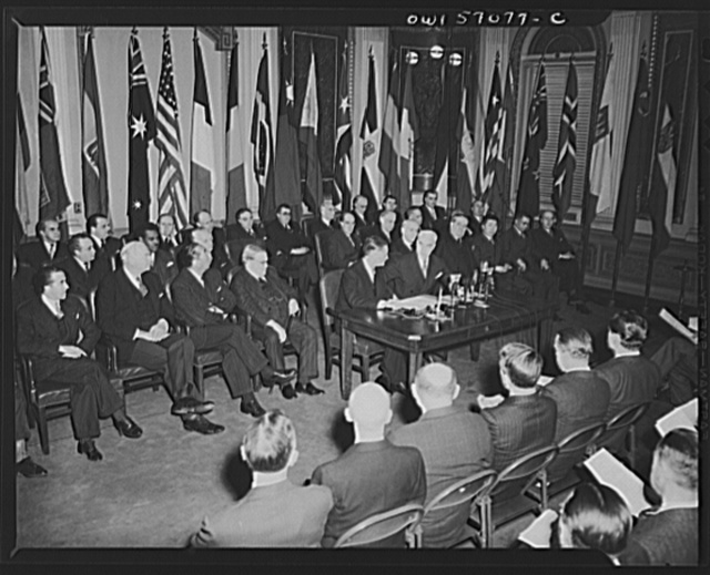 Washington, D.C. Secretary of State Stettinius and French Ambassador Henri Bonnet on the occasion of the signing the United Nations declaration for France at the State Department