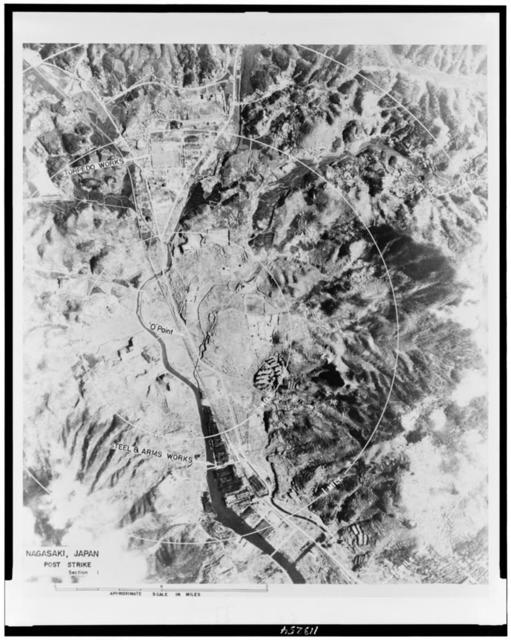 Aerial view of Nagasaki, after the bombing, ...