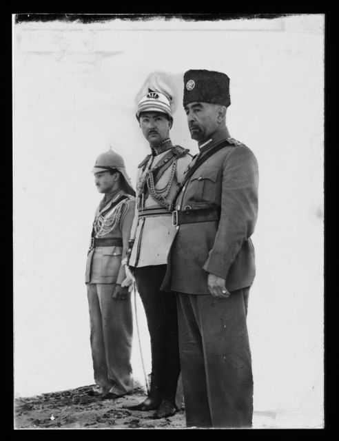 ['Coronation' of King Abdullah in Amman. (right to left) King Abdullah, Emir Abdul Illah (Regent of Iraq), and Emir Naif (King Abdullah's youngest son)]